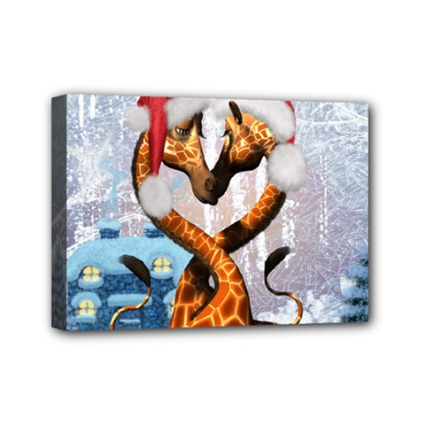 Christmas, Giraffe In Love With Christmas Hat Mini Canvas 7  X 5  by FantasyWorld7