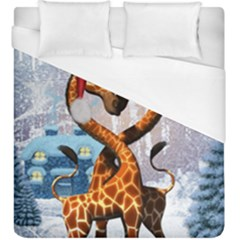 Christmas, Giraffe In Love With Christmas Hat Duvet Cover (king Size) by FantasyWorld7