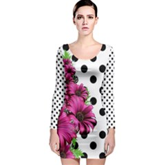 Daisy Flowers Polka Dots Pattern Long Sleeve Bodycon Dress
