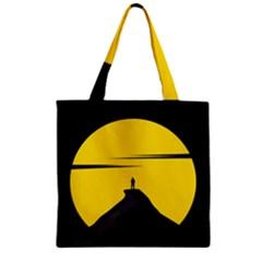 Man Mountain Moon Yellow Sky Zipper Grocery Tote Bag by Nexatart