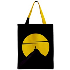 Man Mountain Moon Yellow Sky Zipper Classic Tote Bag
