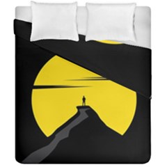 Man Mountain Moon Yellow Sky Duvet Cover Double Side (california King Size)