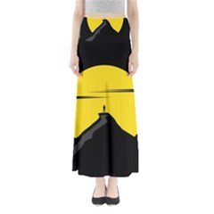 Man Mountain Moon Yellow Sky Full Length Maxi Skirt