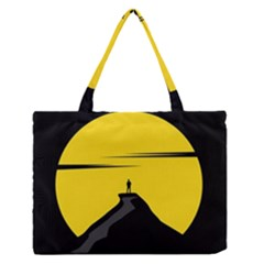 Man Mountain Moon Yellow Sky Zipper Medium Tote Bag by Nexatart