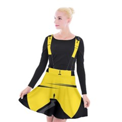 Man Mountain Moon Yellow Sky Suspender Skater Skirt