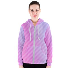 Diagonal Pink Stripe Gradient Women s Zipper Hoodie
