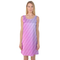 Diagonal Pink Stripe Gradient Sleeveless Satin Nightdress