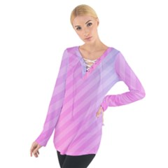 Diagonal Pink Stripe Gradient Tie Up Tee