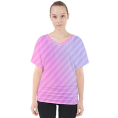 Diagonal Pink Stripe Gradient V Neck Dolman Drape Top