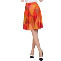 Red Hot Triangle Tile Mosaic A Line Skirt
