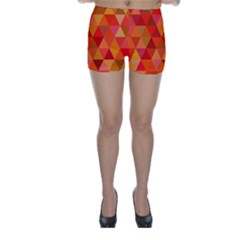 Red Hot Triangle Tile Mosaic Skinny Shorts