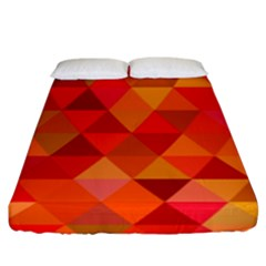 Red Hot Triangle Tile Mosaic Fitted Sheet (king Size)