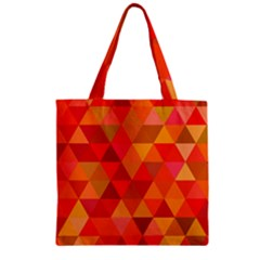 Red Hot Triangle Tile Mosaic Zipper Grocery Tote Bag