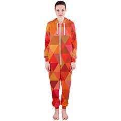 Red Hot Triangle Tile Mosaic Hooded Jumpsuit (ladies)