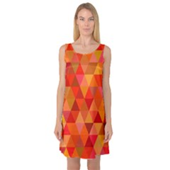 Red Hot Triangle Tile Mosaic Sleeveless Satin Nightdress