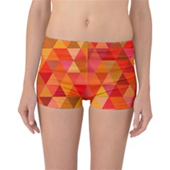 Red Hot Triangle Tile Mosaic Reversible Boyleg Bikini Bottoms