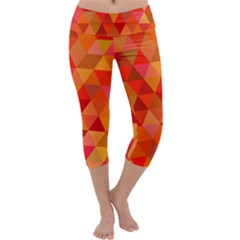 Red Hot Triangle Tile Mosaic Capri Yoga Leggings