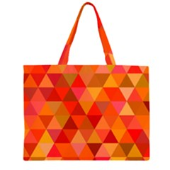 Red Hot Triangle Tile Mosaic Zipper Large Tote Bag by Nexatart