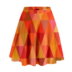 Red Hot Triangle Tile Mosaic High Waist Skirt