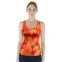 Red Hot Triangle Tile Mosaic Racer Back Sports Top by Nexatart