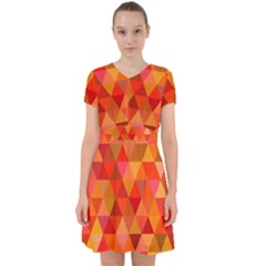 Red Hot Triangle Tile Mosaic Adorable In Chiffon Dress