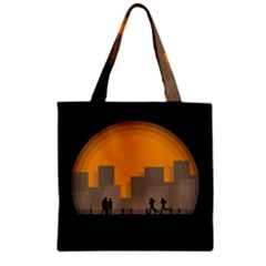 City Buildings Couple Man Women Zipper Grocery Tote Bag by Nexatart