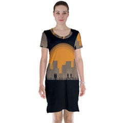 City Buildings Couple Man Women Short Sleeve Nightdress
