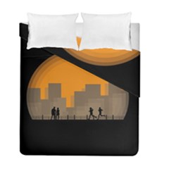 City Buildings Couple Man Women Duvet Cover Double Side (full/ Double Size) by Nexatart