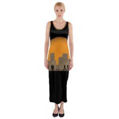 City Buildings Couple Man Women Fitted Maxi Dress