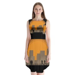 City Buildings Couple Man Women Sleeveless Chiffon Dress