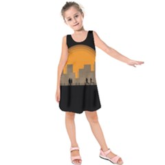 City Buildings Couple Man Women Kids  Sleeveless Dress