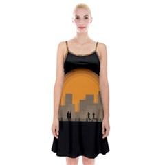 City Buildings Couple Man Women Spaghetti Strap Velvet Dress