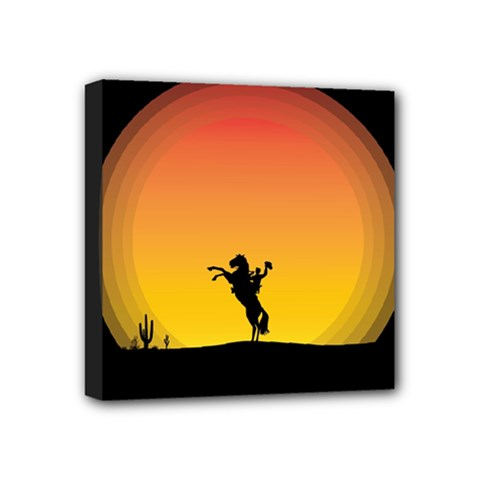 Horse Cowboy Sunset Western Riding Mini Canvas 4  X 4