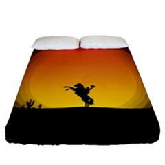 Horse Cowboy Sunset Western Riding Fitted Sheet (queen Size)