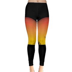 Horse Cowboy Sunset Western Riding Classic Winter Leggings