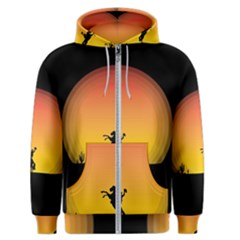 Horse Cowboy Sunset Western Riding Men s Zipper Hoodie