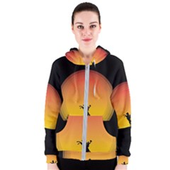 Horse Cowboy Sunset Western Riding Women s Zipper Hoodie