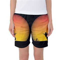 Horse Cowboy Sunset Western Riding Women s Basketball Shorts