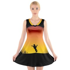 Horse Cowboy Sunset Western Riding V Neck Sleeveless Skater Dress