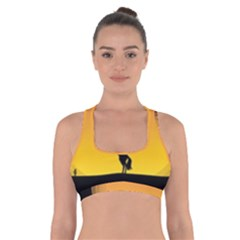 Horse Cowboy Sunset Western Riding Cross Back Sports Bra