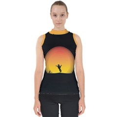 Horse Cowboy Sunset Western Riding Shell Top
