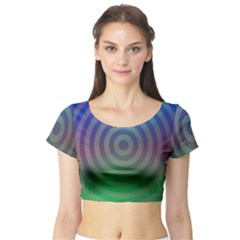 Blue Green Abstract Background Short Sleeve Crop Top