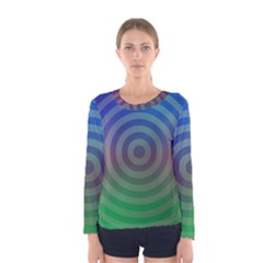 Blue Green Abstract Background Women s Long Sleeve Tee