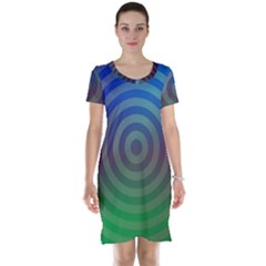 Blue Green Abstract Background Short Sleeve Nightdress