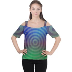 Blue Green Abstract Background Cutout Shoulder Tee