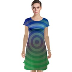 Blue Green Abstract Background Cap Sleeve Nightdress
