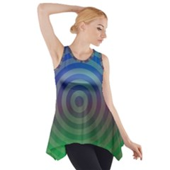 Blue Green Abstract Background Side Drop Tank Tunic