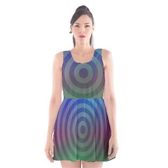 Blue Green Abstract Background Scoop Neck Skater Dress