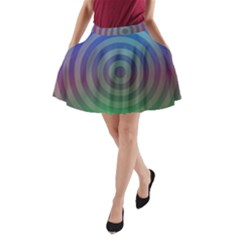 Blue Green Abstract Background A Line Pocket Skirt