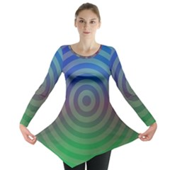 Blue Green Abstract Background Long Sleeve Tunic